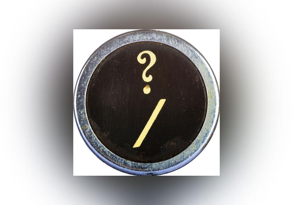 slash, typewriter, question mark